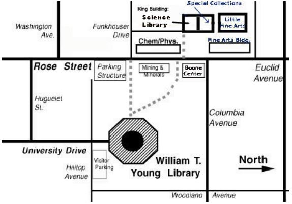 Map of William T. Young Library area