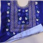 Blue Piel de Angel with Hand Embroidered Flowers